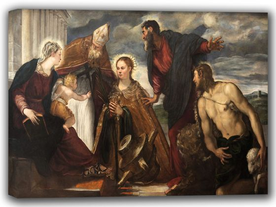 Tintoretto, Jacopo Robusti: Virgin and Child, with St Catherine, St Augustine, St Marc and St John. Fine Art Canvas. Sizes: A4/A3/A2/A1 (001993)
